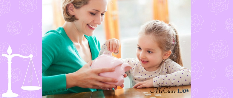 Mother and daughter with piggy bank instead of spending on family law legal costs